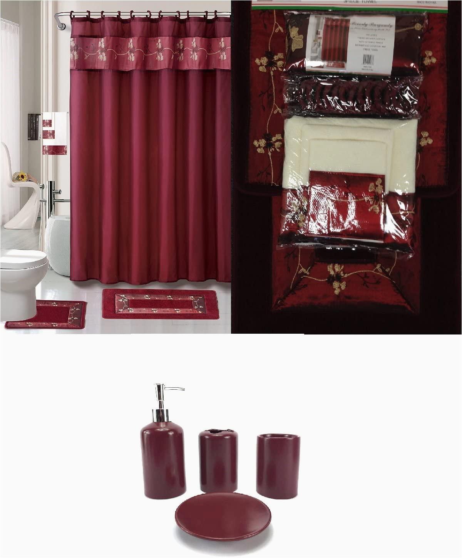 Burgundy Color Bath Rugs 22 Piece Bath Accessory Set Burgundy Red Bath Rug Set Shower Curtain & Accessories
