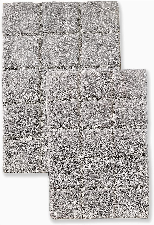 Cotton Bath Rugs Non Slip Superior Non Slip Bath Rug 2 Pack Ultra Plush soft and Absorbent Bed Cotton Pile Contemporary Checkered Bath Mat Set Silver