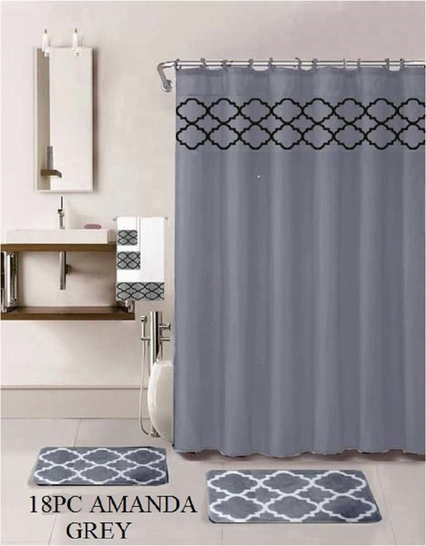 Grey Bath Rugs and towels 18 Piece Bath Rug Set Choose From Taupe Teal Blue Sage Green Burgundy Holiday Red Geometric Desin Print Bathroom Rugs Shower Curtain Rings and