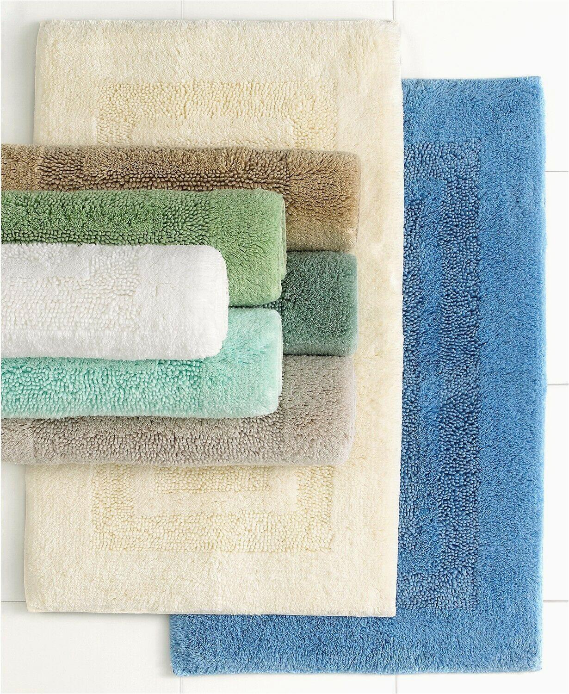 "Martha Stewart Memory Foam Bath Rug Martha Stewart Collection Plush Squares Cotton 17 X 24"" Bath Rug Ivory"