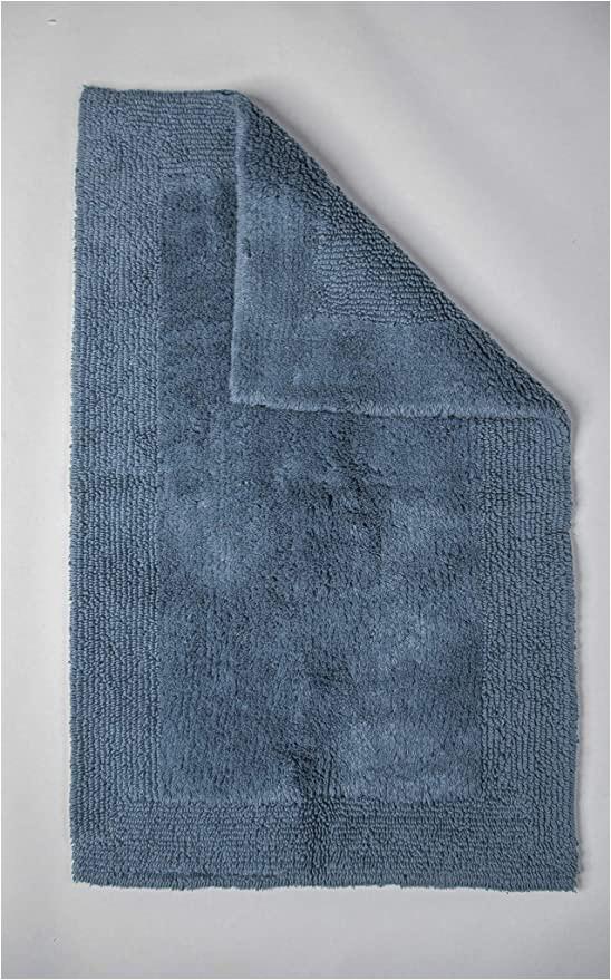 Organic Cotton Bath Rugs Grund Puro Series organic Cotton Reversible Bath Rug 17 Inch by 24 Inch Sea Blue