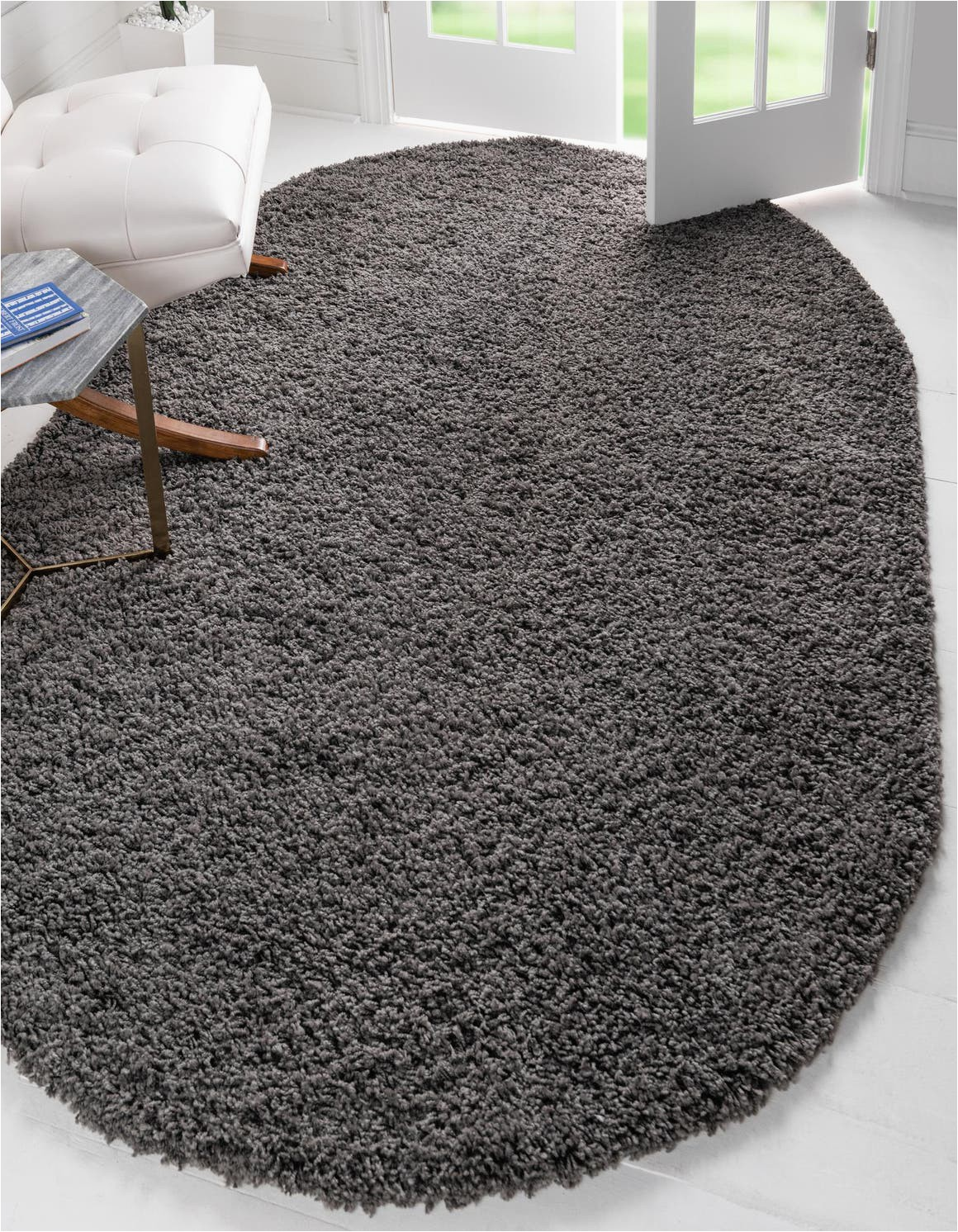 Solid Grey area Rug 8×10 Graphite Gray 8 X 10 solid Shag Oval Rug