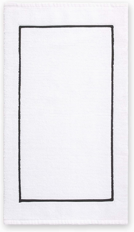 White Bath Rug with Black Border Calvin Klein Home Marcel Bath Rug White Black