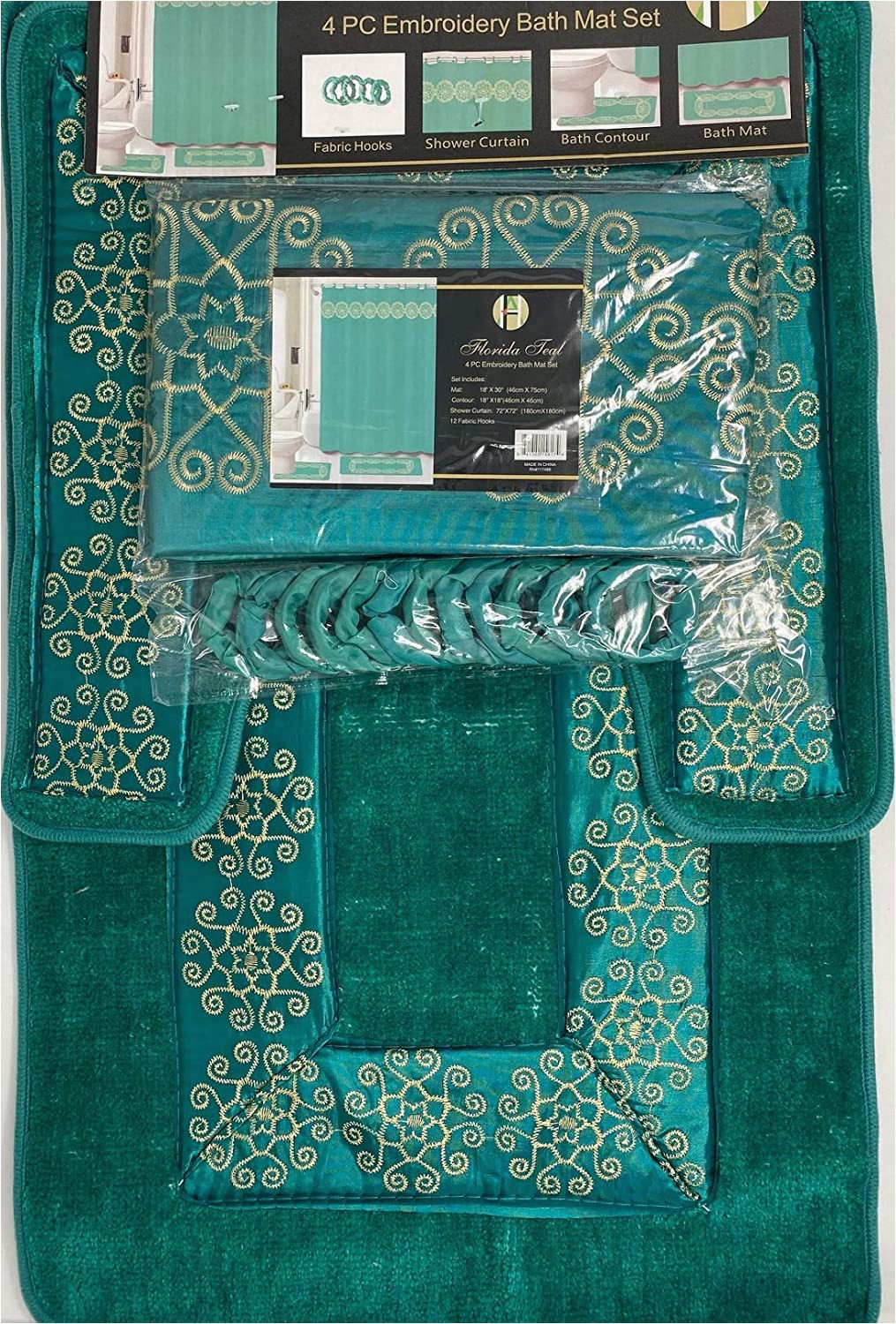 Bathroom Contour Rug Sets 4 Piece Bathroom Rugs Set Non Slip Teal Gold Bath Rug toilet Contour Mat with Fabric Shower Curtain and Matching Rings Florida Teal