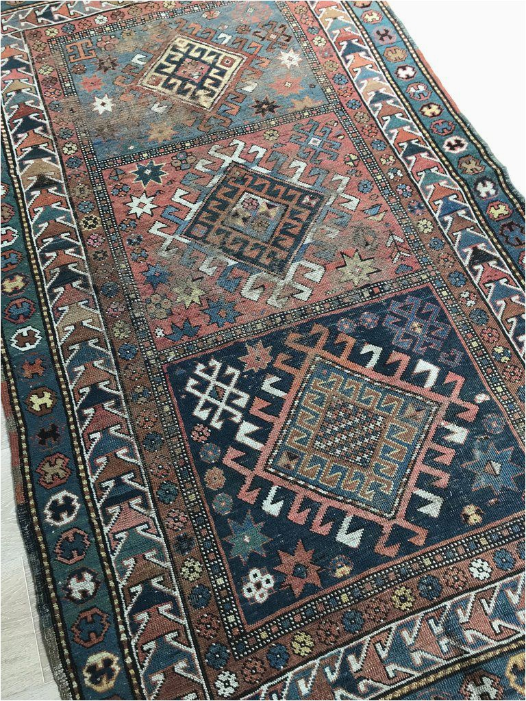 Blue Green oriental Rug No 0172 Beautiful Caucasian Kazak Faded Green Blue and Red