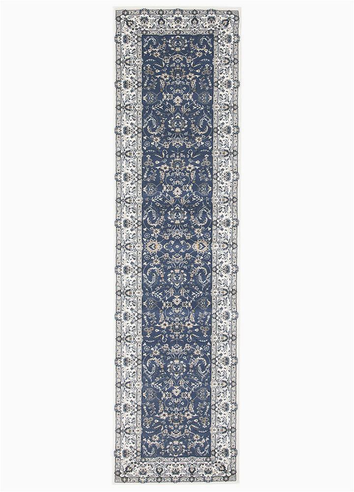 Blue oriental Rug Runner Ankara Aisha Blue White Runner Rug