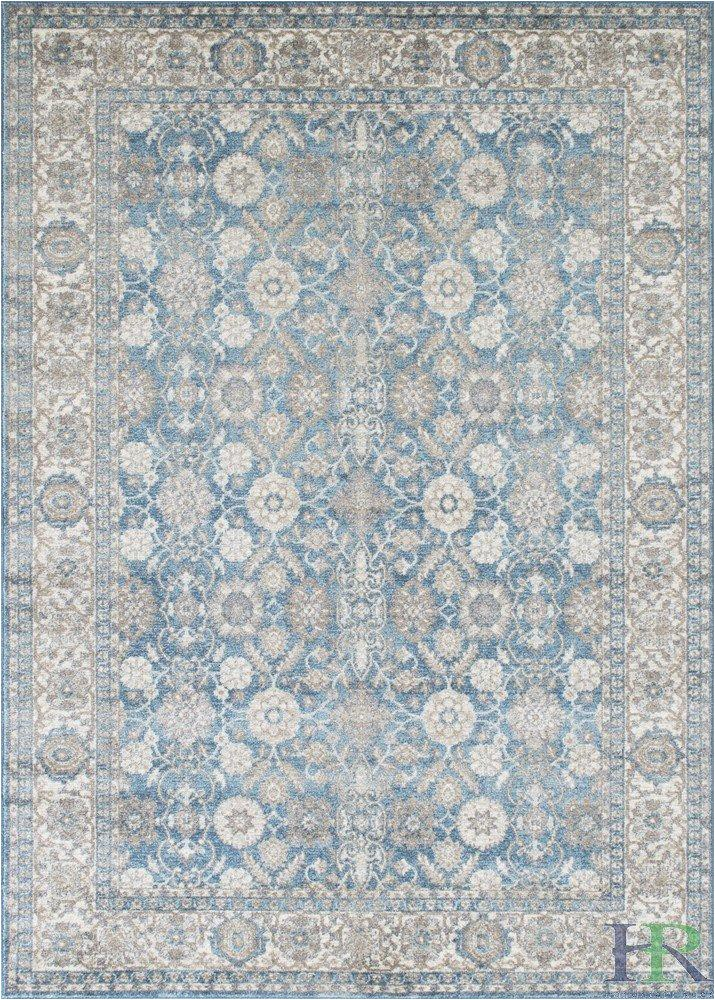 Faded Blue Persian Rug Silver ash Gray Ivory Light Blue Faded oriental Distressed
