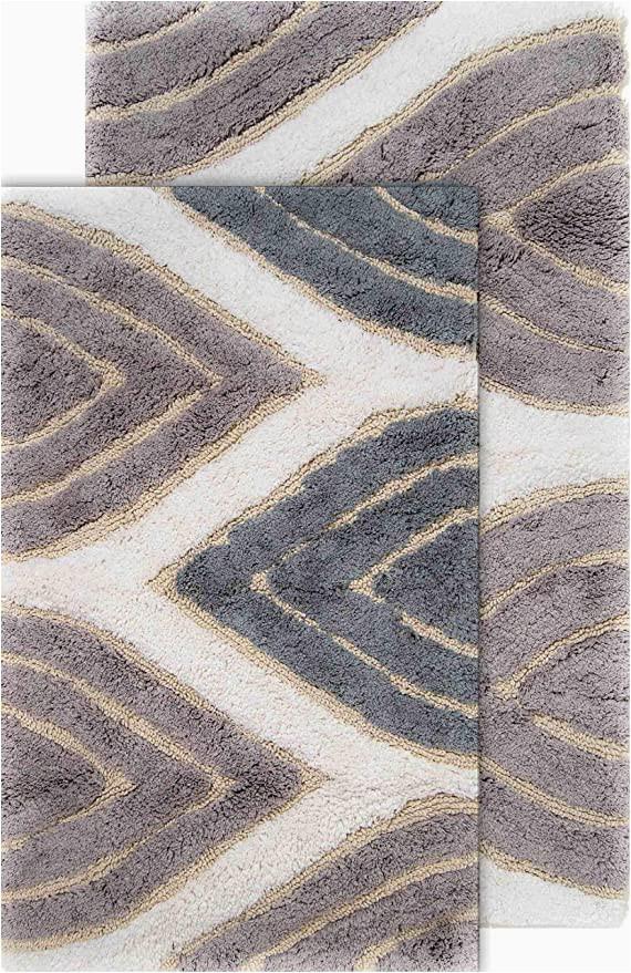 "Grey and Beige Bathroom Rugs Chesapeake Davenport 2 Pc Grey Bath Rug Set 21""x34"" & 24""x40"""