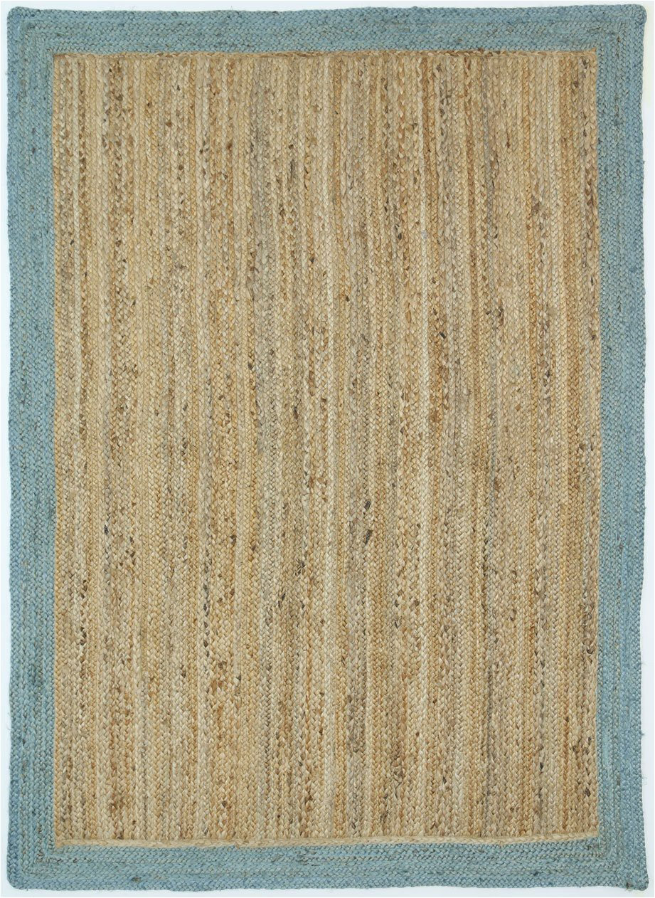Jute Rug with Blue Border Hampton Blue Border Jute Rug– Floorsome