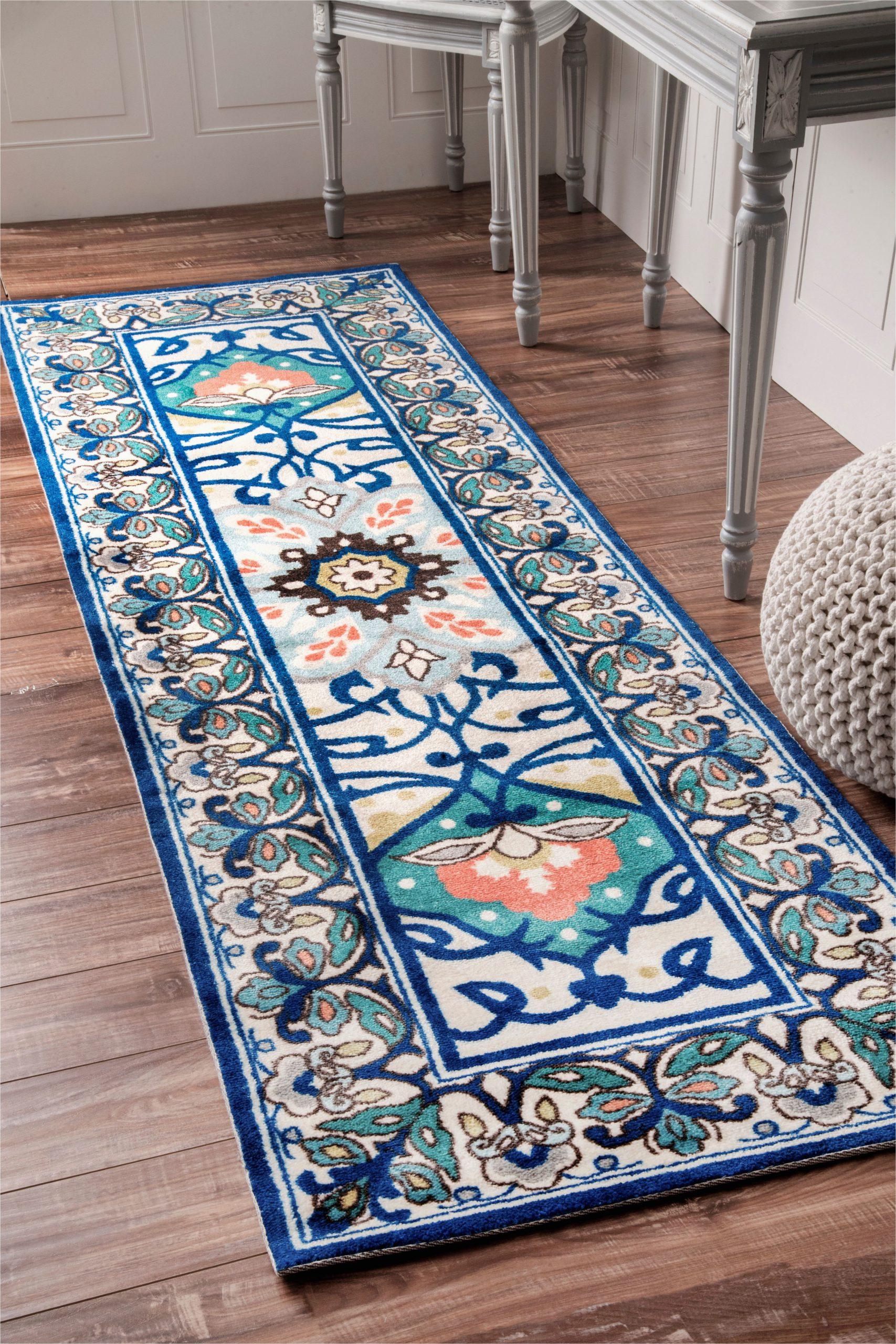 Kujawa Blue area Rug Flourish Jewel tone Floral Printed Blue Rug
