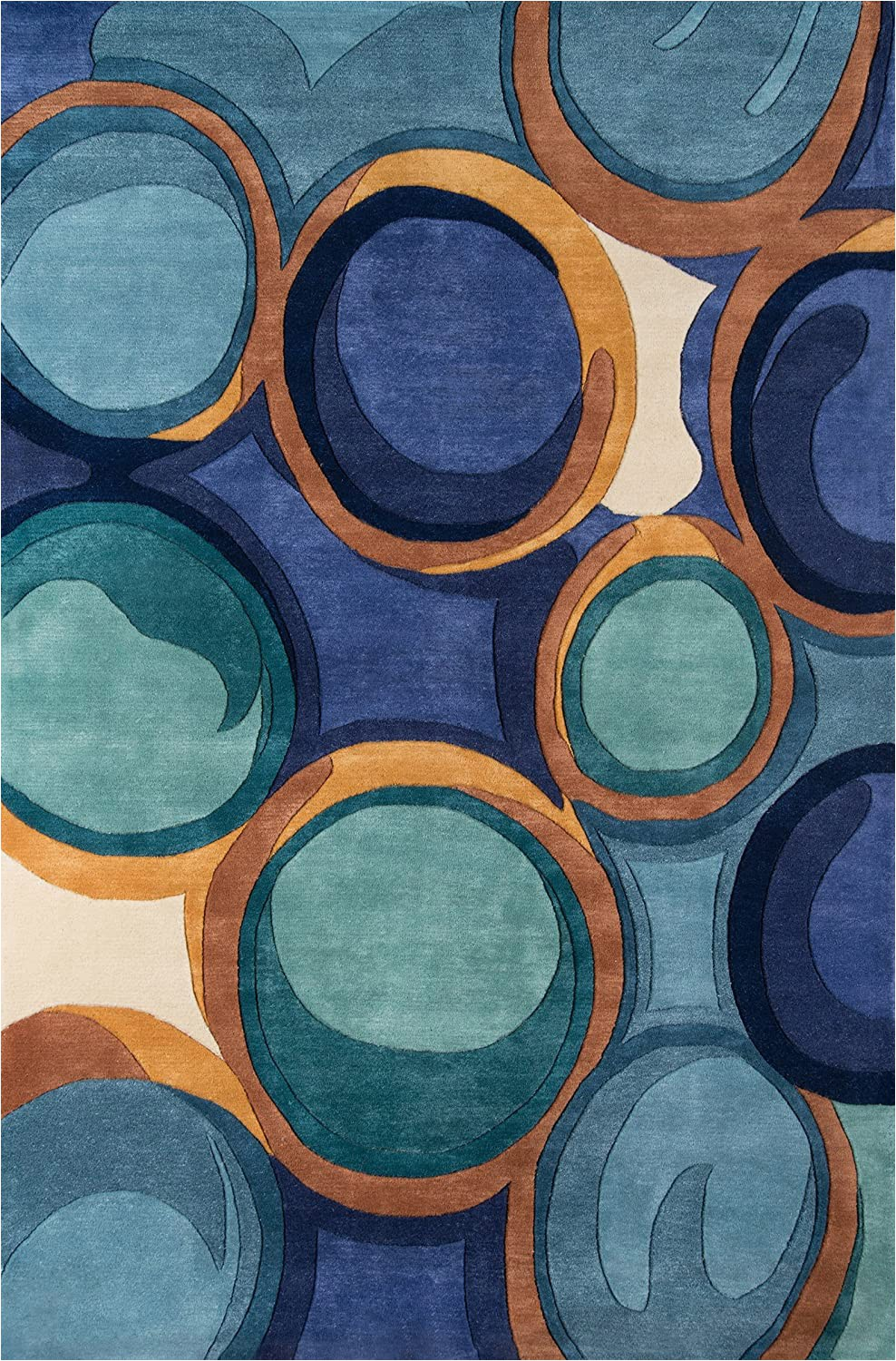 "Momeni New Wave Blue Rug Momeni Rugs New Wave Collection Wool Hand Carved & Tufted Contemporary area Rug 9 6"" X 13 6"" Blue"