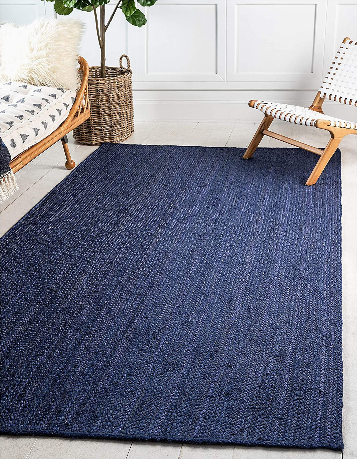 Navy Blue Woven Rug Unique Loom Braided Jute Collection Hand Woven Natural Fibers Navy Blue Dark Blue area Rug 9 0 X 12 0