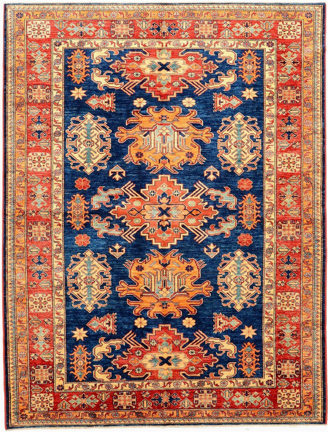 Peach and Blue Persian Rug Peach and Navy Geometric Kazak Rug orientalrugs Geometrics