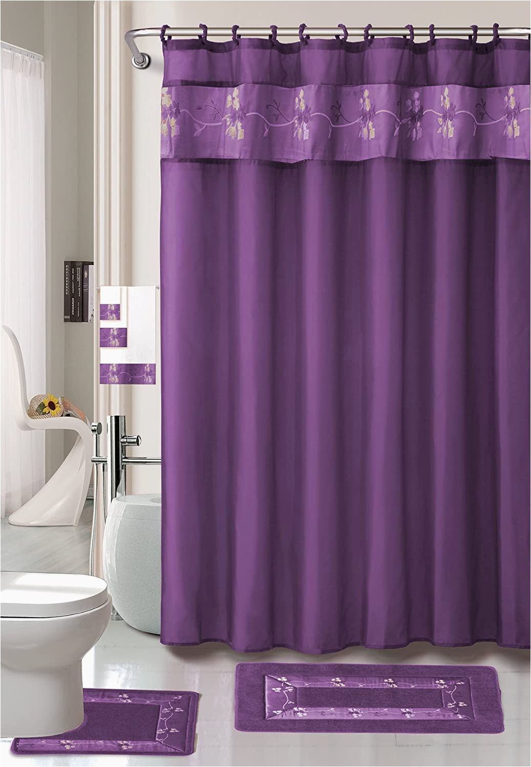 Purple Bathroom Rugs and towels Ahf Wpm Beverly Purple Flower 18 Piece Bathroom Set 2 Rugs Mats 1 Fabric Shower Curtain 12 Fabric Covered Rings 3 Pc Decorative towel Set
