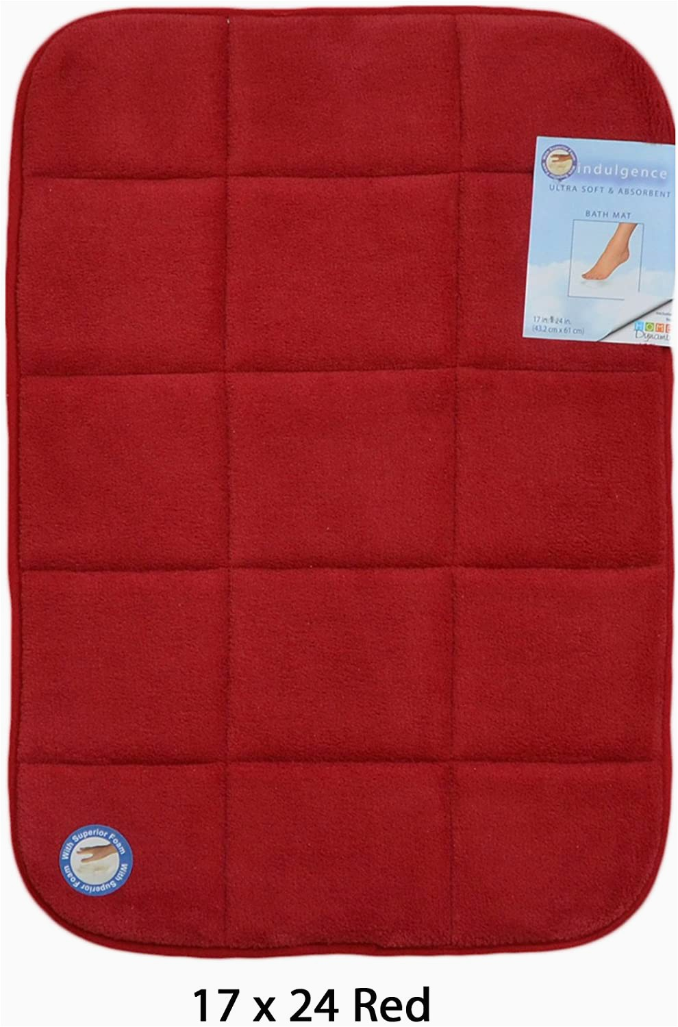 Red Memory Foam Bathroom Rugs Red Memory Foam Bath Mat area Rug Non Skid Absorbent 17 X 24 or 20 X 30 Square Box 17×24