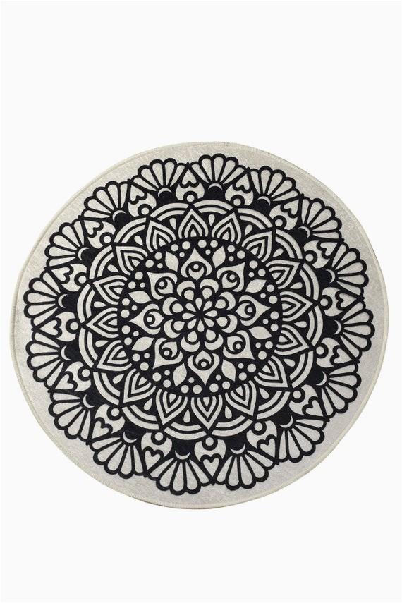 "Round Black Bath Rug Black Mandala Round Home Decor Rug soft Bath Mat Eco Friendly Gift for Her 2 Different Diameters 39"" and 55"""