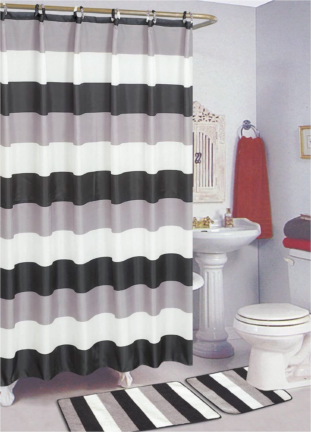Shower Curtains with Matching Bath Rugs Empire Black & White 15 Piece Bathroom Set Bath Rugs Shower Curtain & Rings