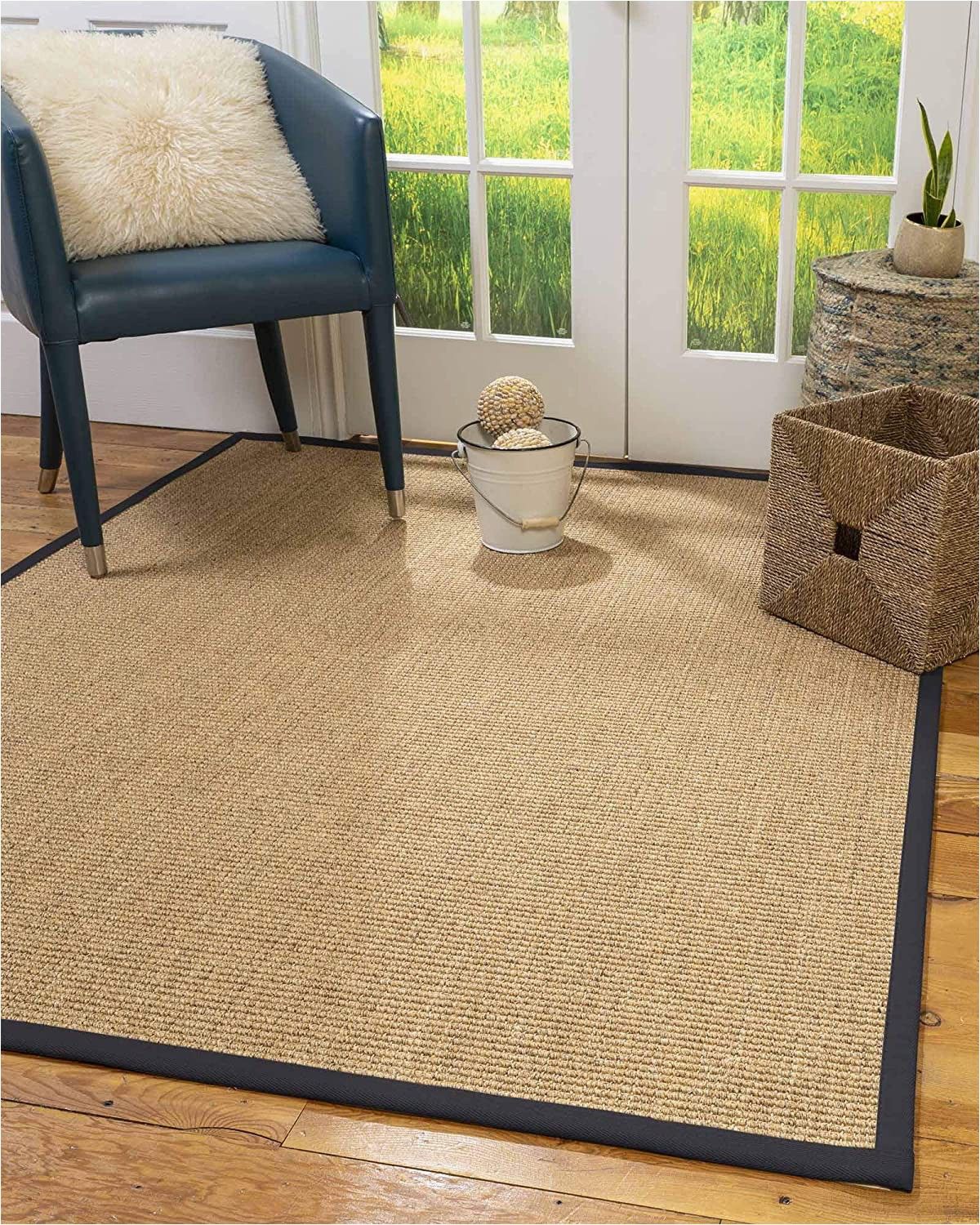 Sisal Rug with Blue Border Naturalarearugs Natural Fiber Handmade Studio Gold Multi Sisal Rug 2 X 3 Midnight Blue Border