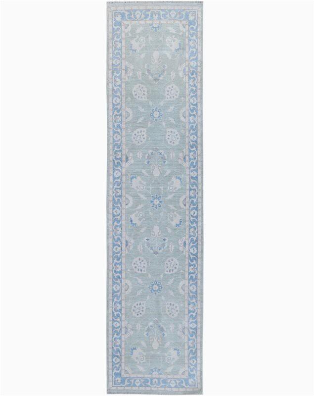 "Wayfair Blue Runner Rugs E Of A Kind Hand Knotted 2010s Oushak Blue Gray 2 8"" X 9 8"" Runner Wool area Rug"