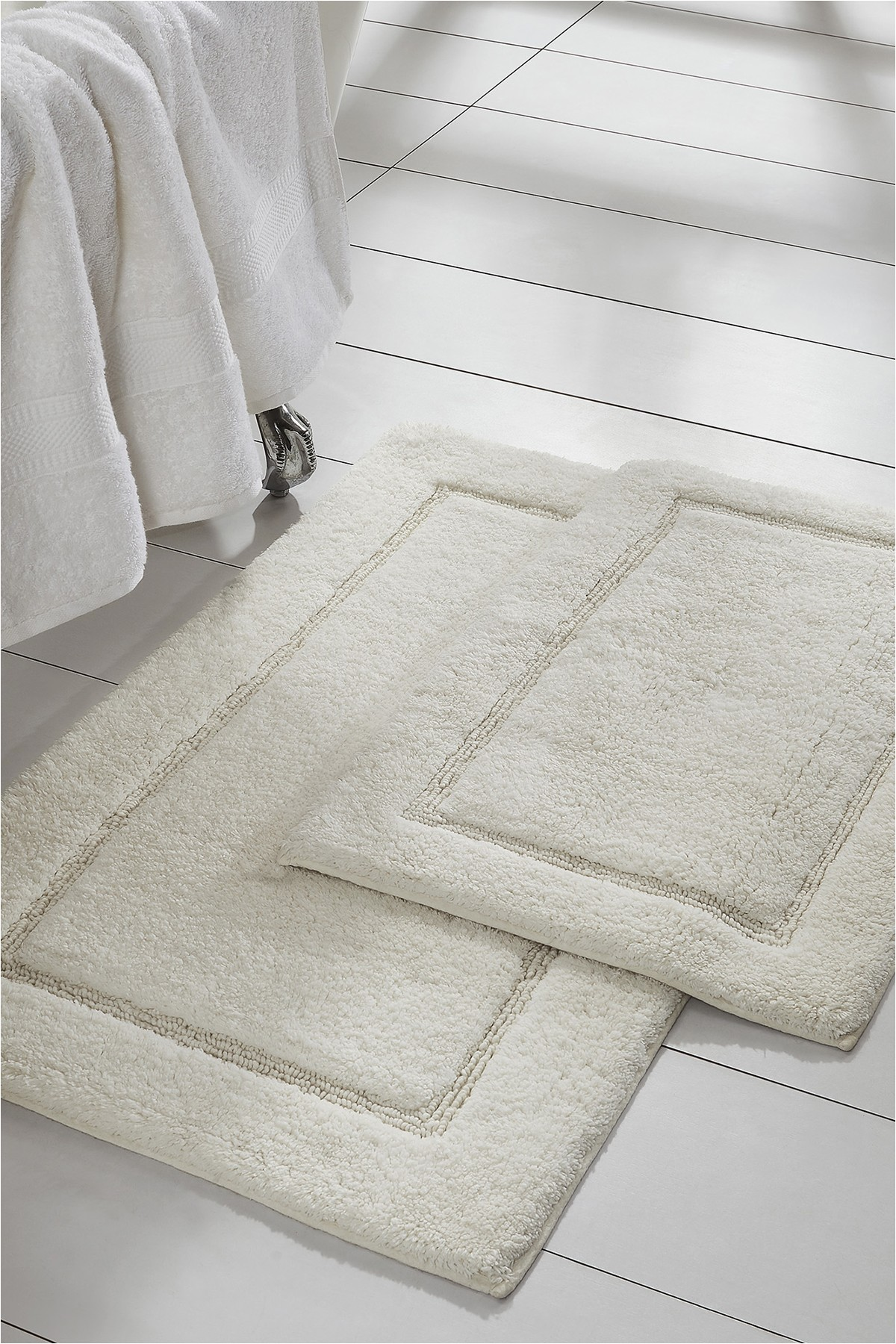 Bathroom Rug Set White Modern Threads White solid Loop Non Slip Bath Mat 2 Piece Set