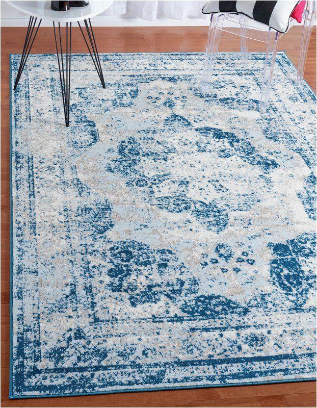 Brandt Light Blue Ivory area Rug Brandt Tibetan Light Blue Beige and Ivory area Rug