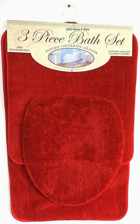Brick Red Bathroom Rugs Buy Diny Home & Style 3 Piece Bath Rug Set Brick Red