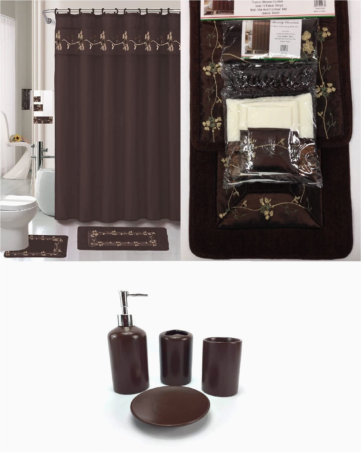 Dark Brown Bathroom Rug Sets 22 Piece Bath Accessory Set Beverly Chocolate Brown Bathroom Rug Set Shower Curtain & Accessories