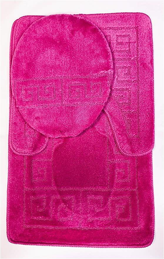 "Dark Pink Bathroom Rugs 3 Piece Bath Rug Set Pattern Bathroom Rug 20""x32"" Contour Mat 20""x20"" with Lid Cover Hot Pink"