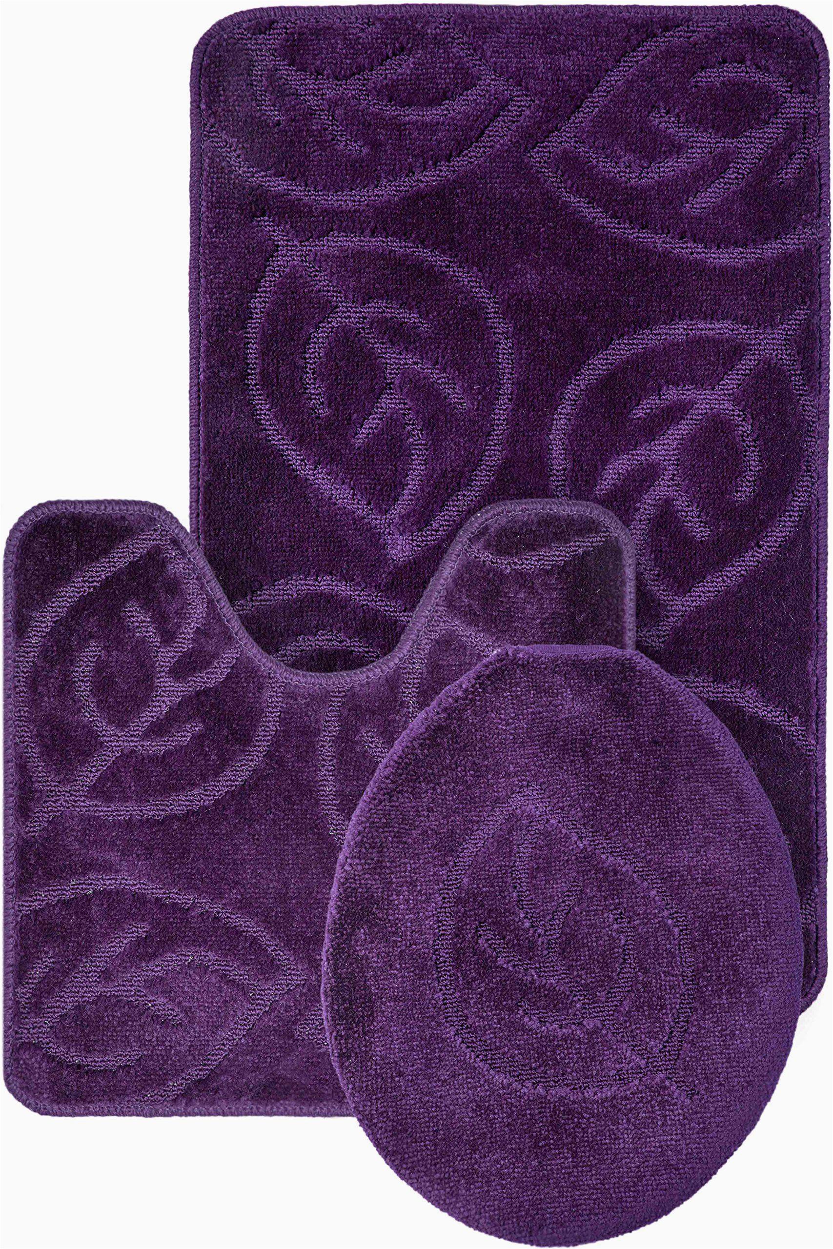 Deep Purple Bathroom Rugs Everdayspecial Purple Bath Set Leaf Pattern Bathroom Rug