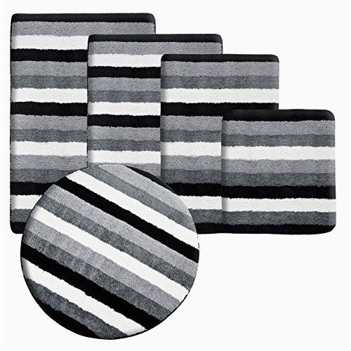 casa pura bath mat bath rug leon soft pile non slip black grey stripes