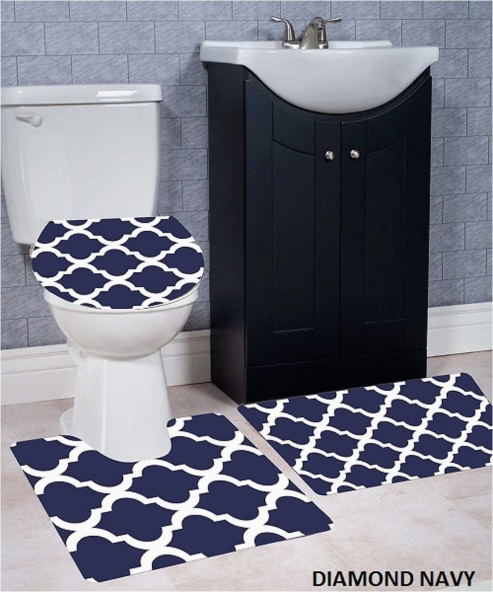 Large Contour Bath Rug Wpm 3 Piece Bath Rug Set Diamond Pattern Bathroom Rug 50cmx80cm Contour Mat 50cmx50cm with Lid Cover Purple
