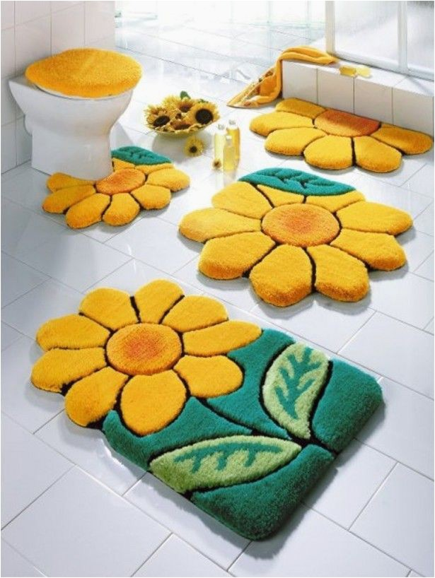 Modern Bath Rug Set 4 Piece Bathroom Rug Set