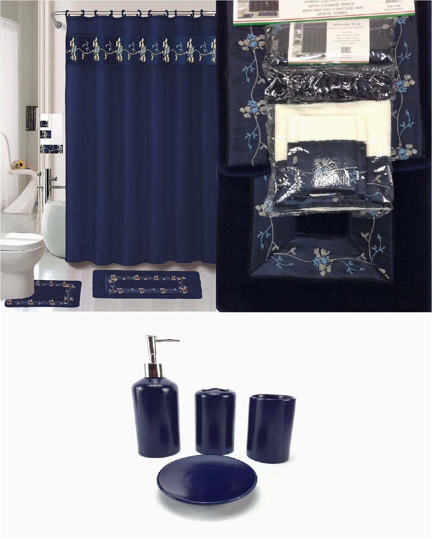 Navy Bathroom Rug Set Buy 22 Piece Bath Accessory Set Navy Blue Flower Bathroom