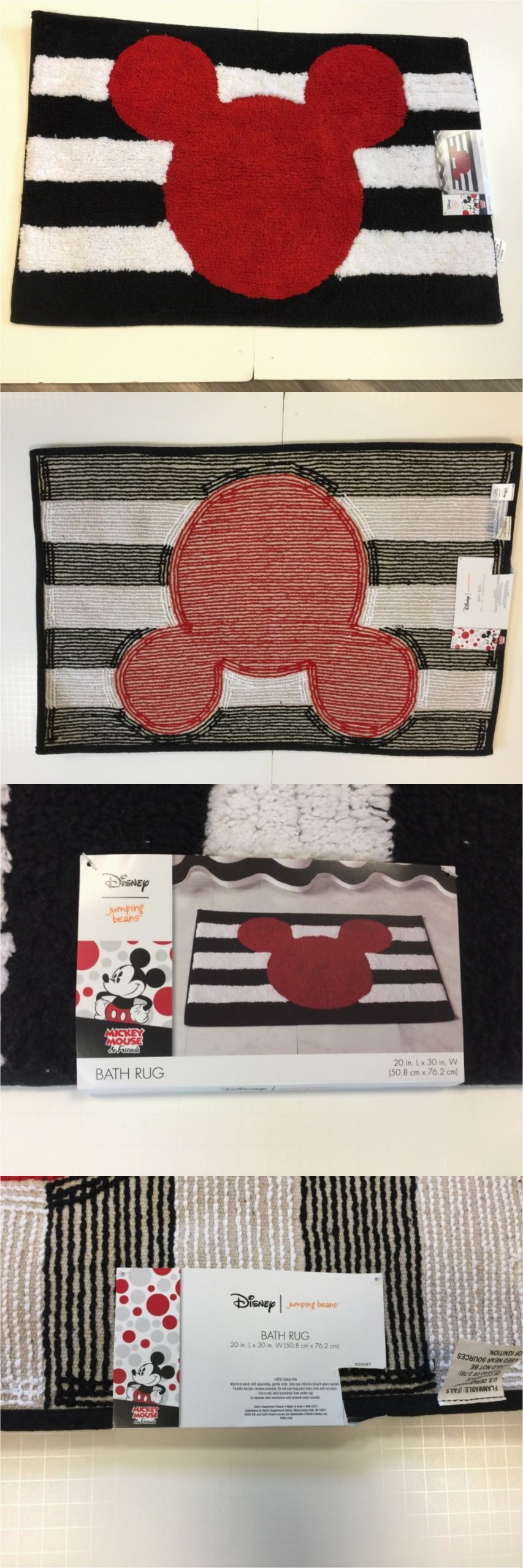 Red and White Bath Rug Bathmats Rugs and toilet Covers Disney Mickey Mouse