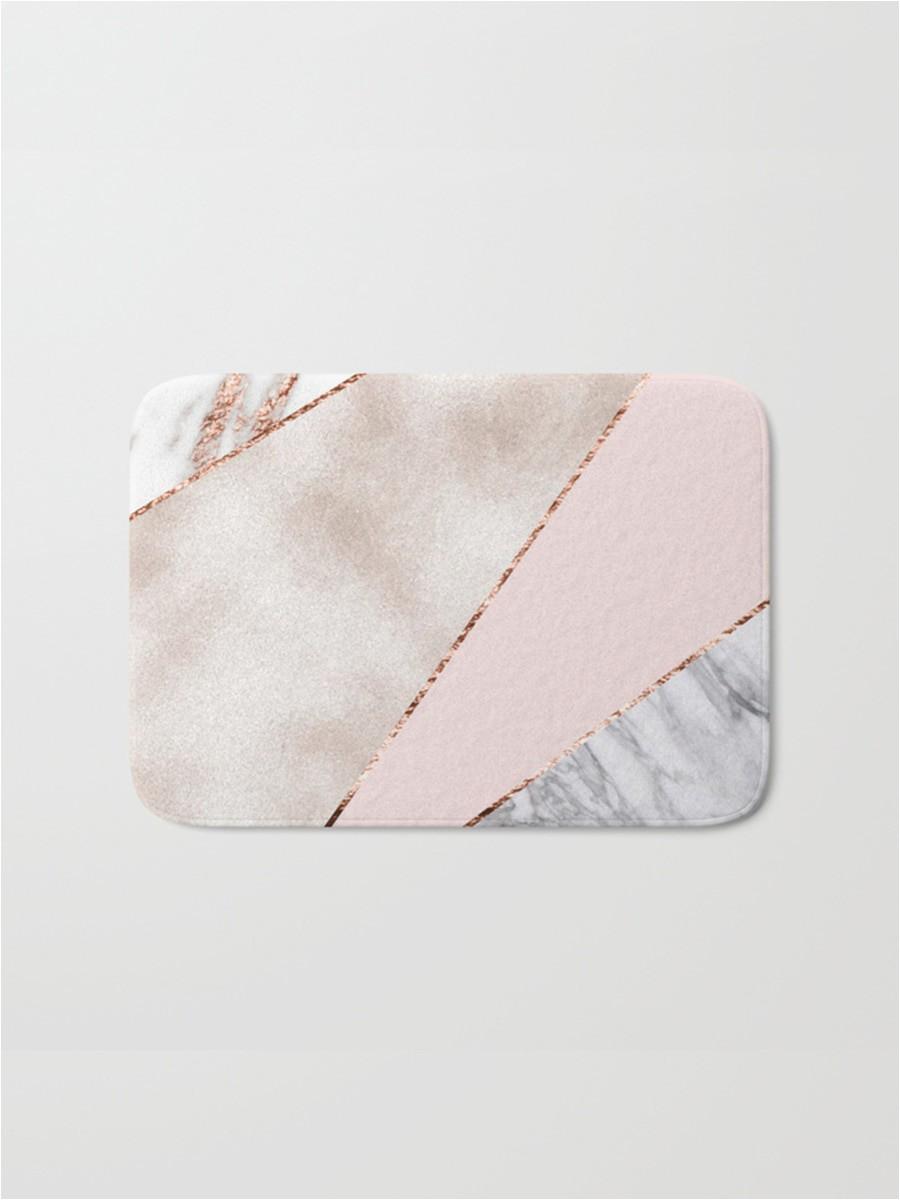 Rose Gold Bath Rug 1pc Rug Rose Gold Marble Geometric Pattern Bath Mat Practical Anti Slip Flannel Door Mat
