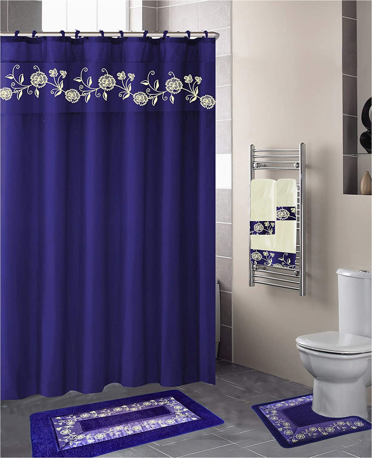 Royal Blue Bathroom Rug Set Luxury Home Collection 18 Pc Bath Rug Set Embroidery Non Slip Bathroom Rug Mats and Rug Contour and Shower Curtain and towels and Rings Hooks and
