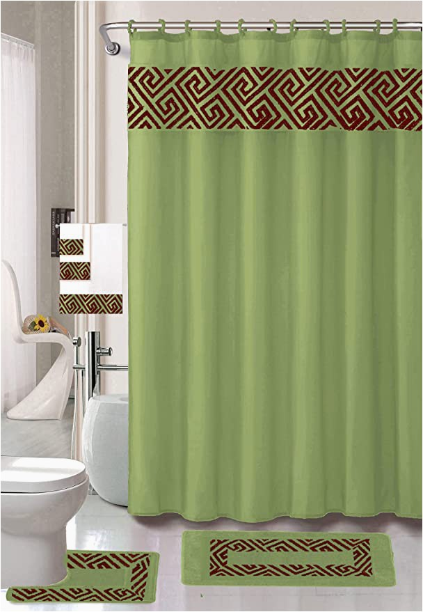 Sage Green Bath Rug Sets Luxury Home Collection 18 Piece Embroidery Non Slip Bathroom Rug Set Set Includes Bath Rug Mat Contour Mat Shower Curtain towels and Hooks Sage
