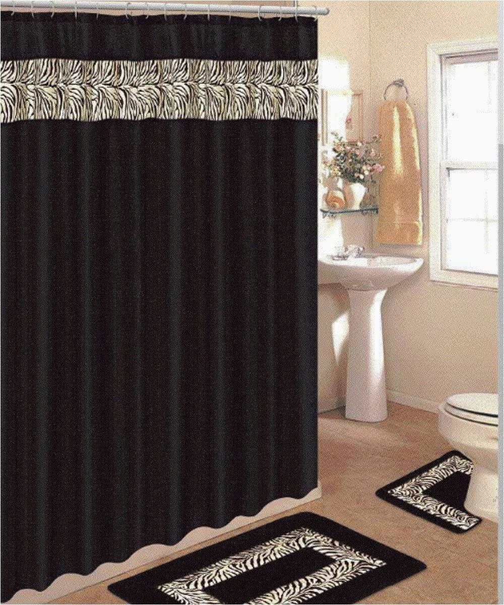 Shower Curtain Bath Rug Set 4 Piece Bath Rug Set 3 Piece Black Zebra Bathroom Rugs with Fabric Shower Curtain and Matching Rings
