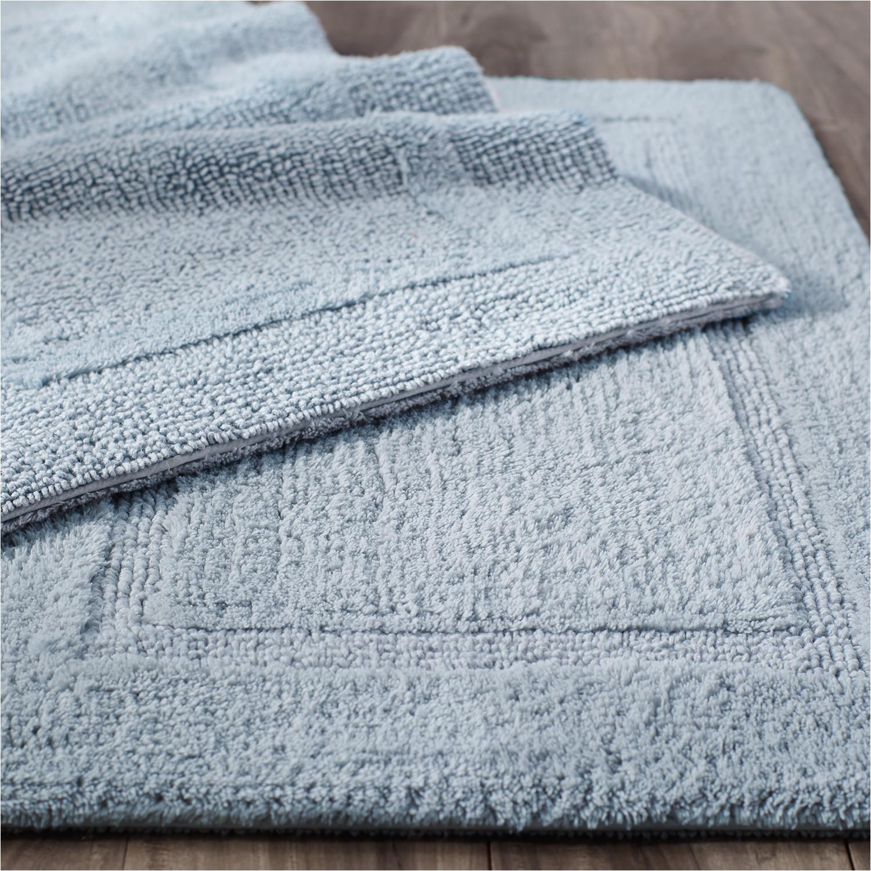 reversible cotton sky blue bath rug collection