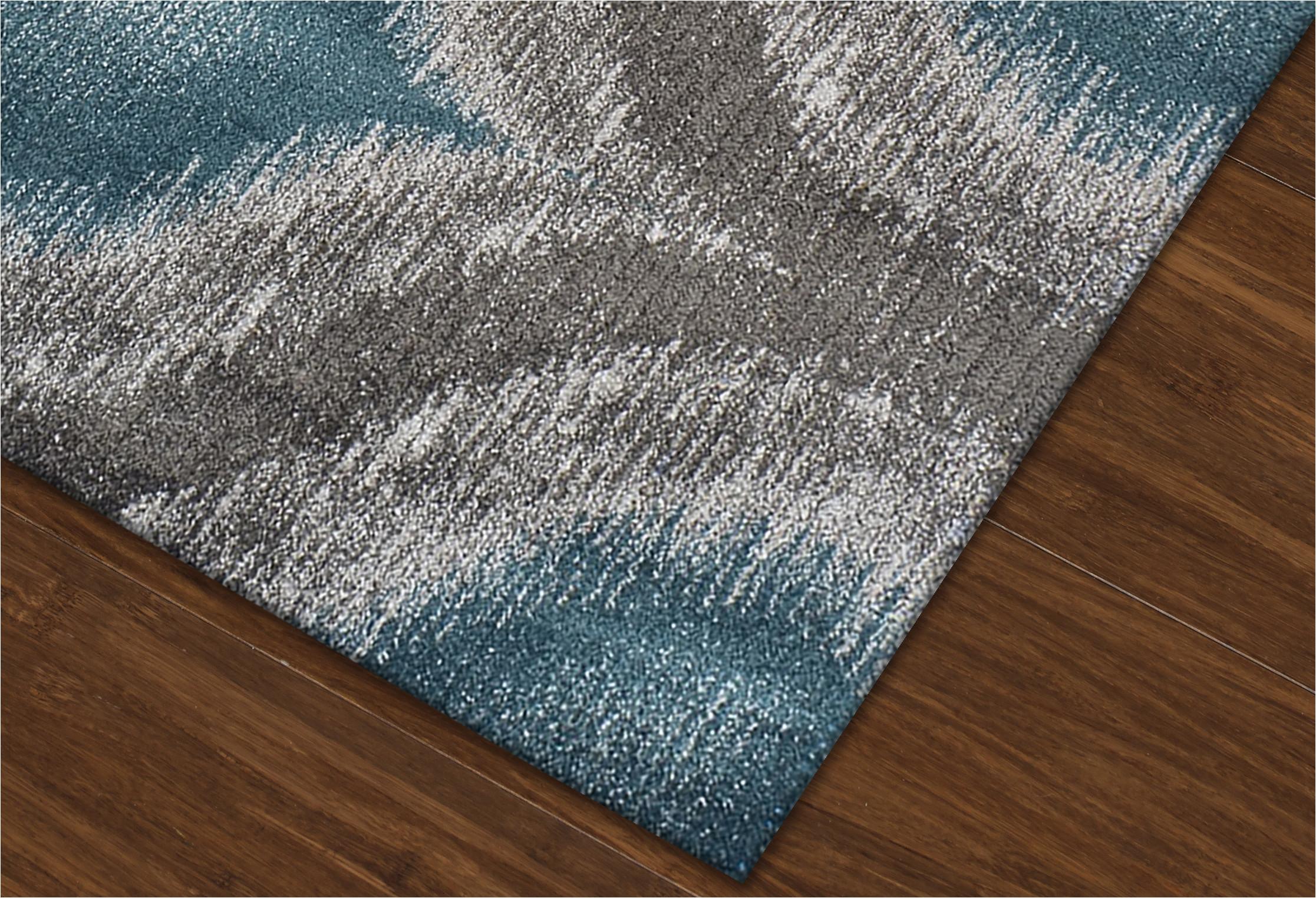 modern grey teal premium polypropylene rug p 1398