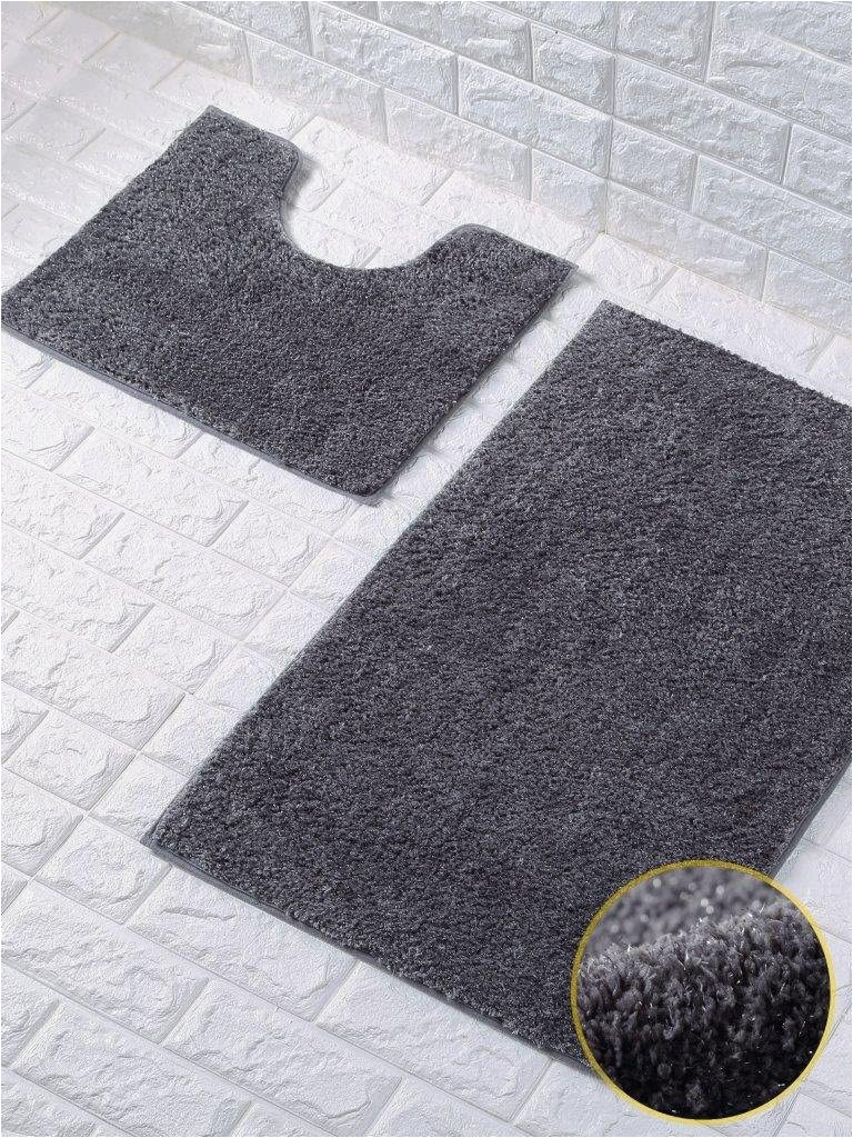 Water Absorbent Bathroom Rugs Shiny Sparkling 2pcs Bath Mat Sets Non Slip Water Absorbent Bathroom Rugs Dark Grey by fort Collections