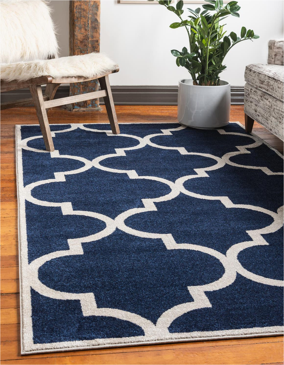navy blue 5x8 trellis area rug 33116771