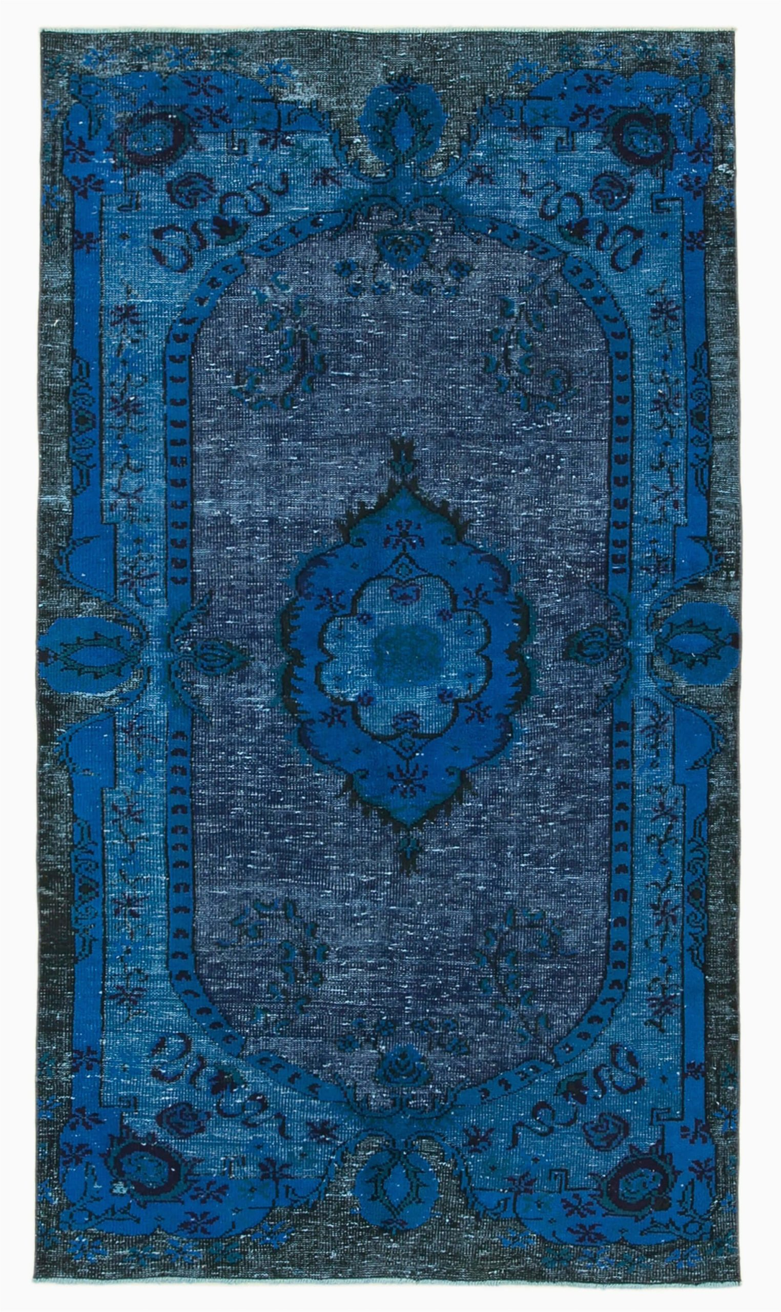 5x9 blue over dyed rug 5134