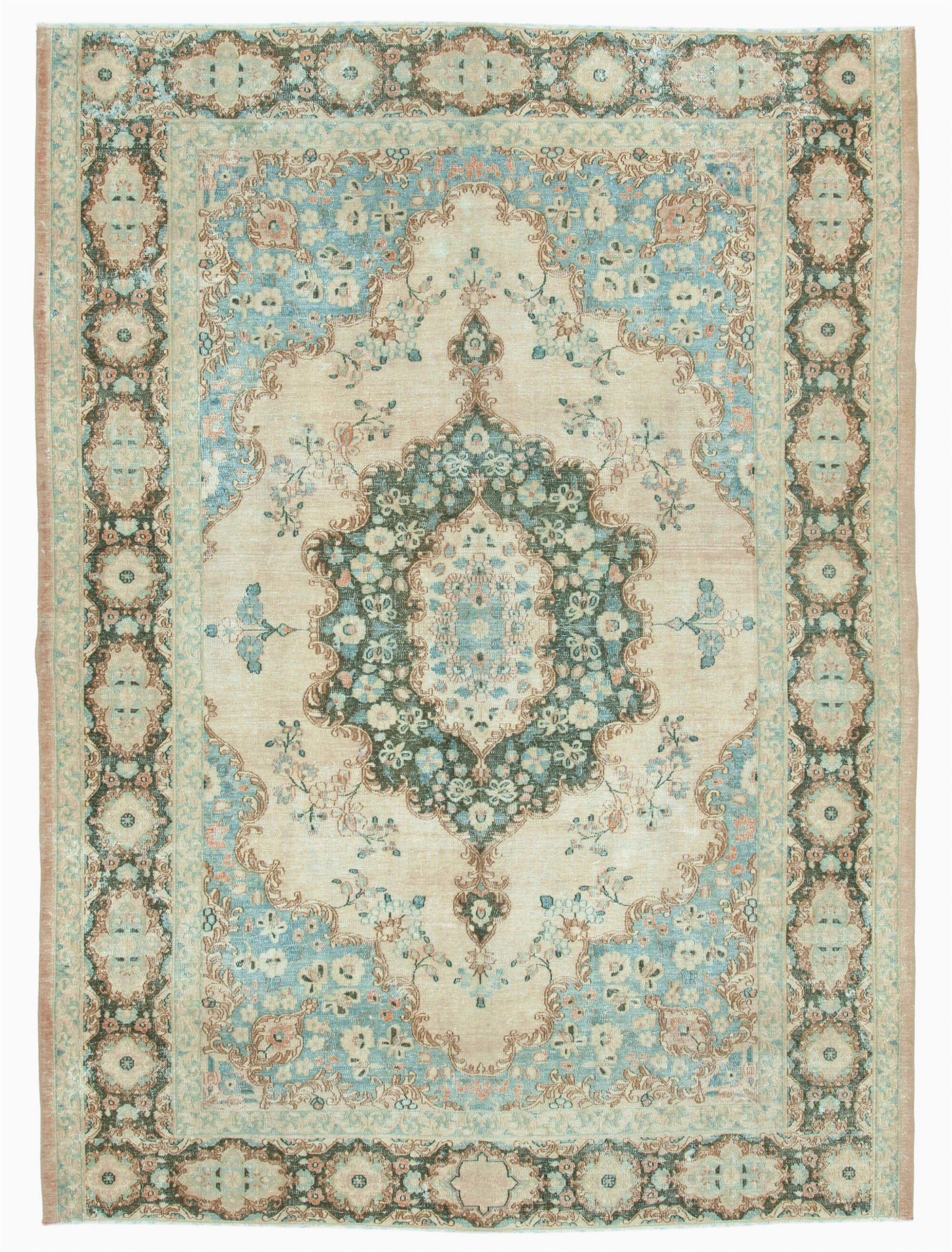 7×9 Blue area Rug 7×9 Blue Turkish Vintage Wool Large area Rug 12999