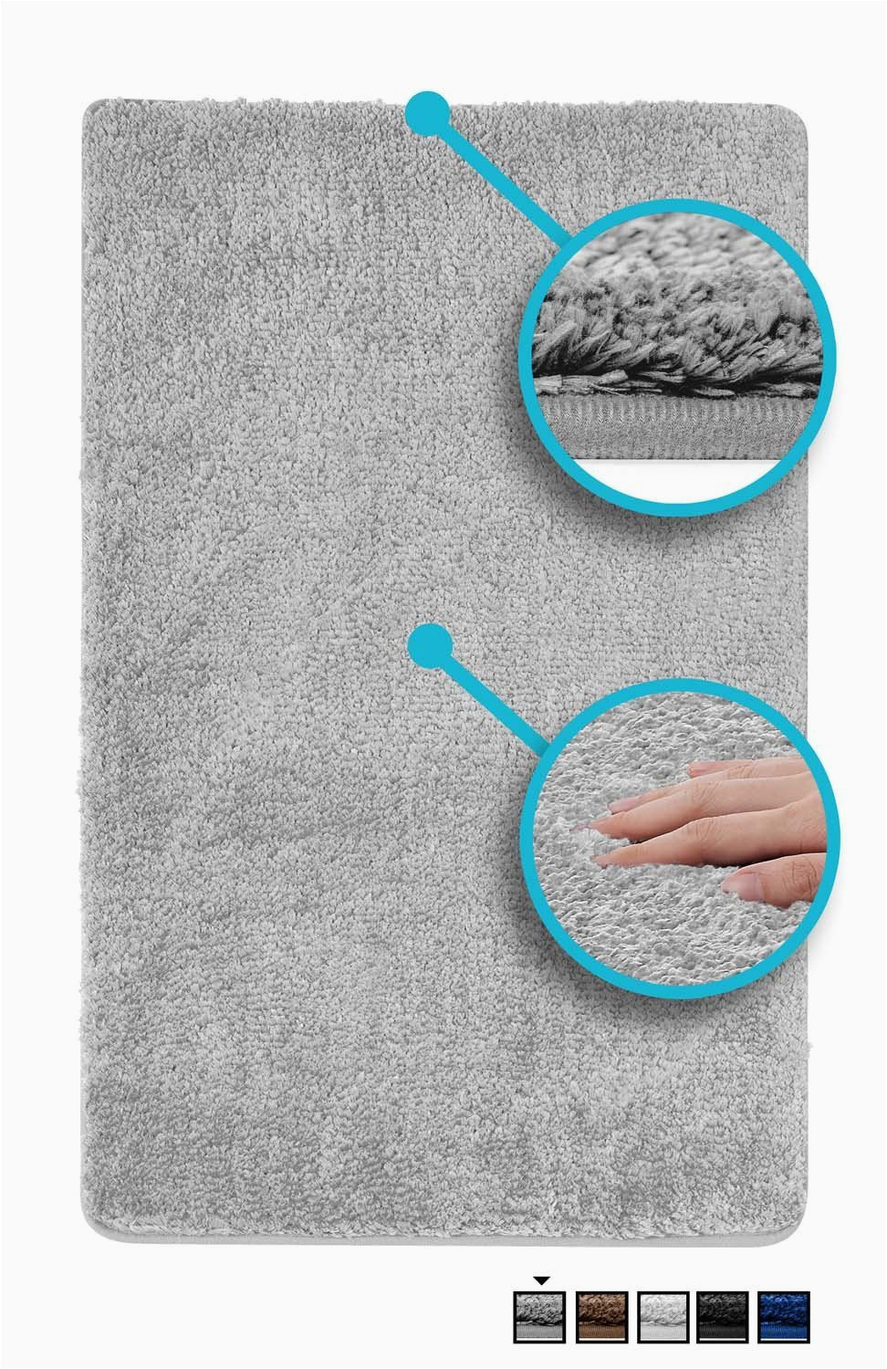 luxe bath mat bath rug non slip backing microfiber microdry bath mat 19 5 x 31 5 in brown