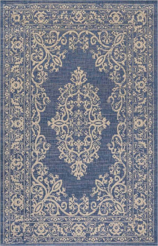 galon filigree indoor outdoor blue beige 4 ft x 6 ft area rug
