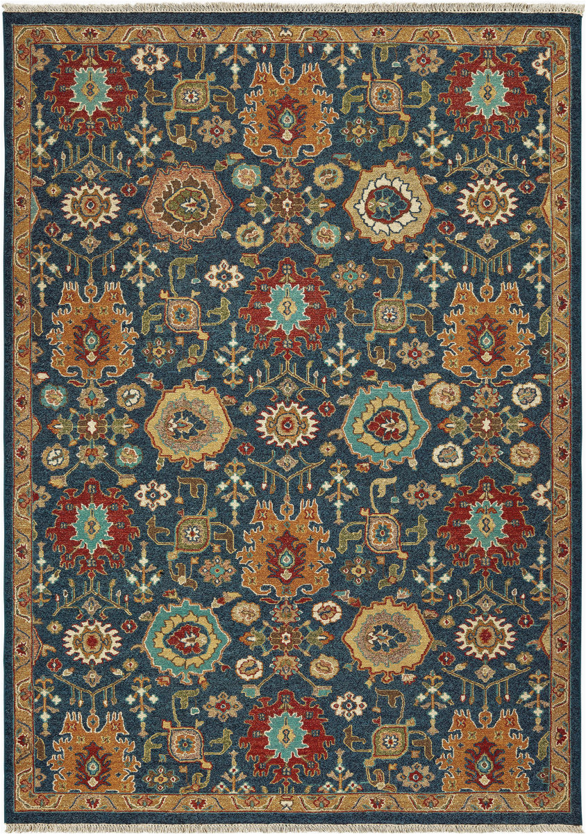 Blue and Rust Rug tommy Bahama Angora 12307 Blue Rust area Rug
