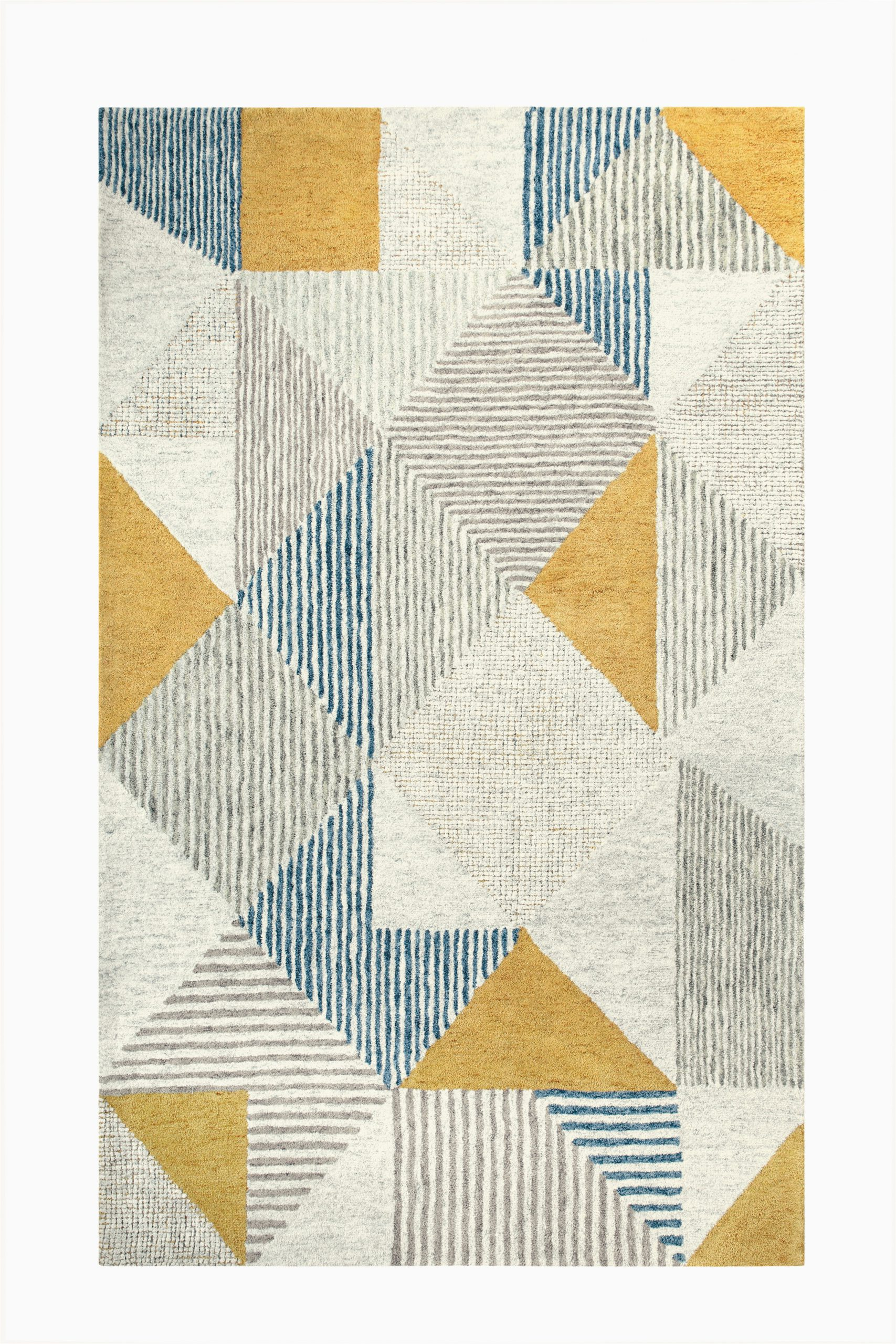 Blue and Yellow Throw Rugs Griffin Geometric Handmade Tufted Wool Blue Gray Yellow area Rug