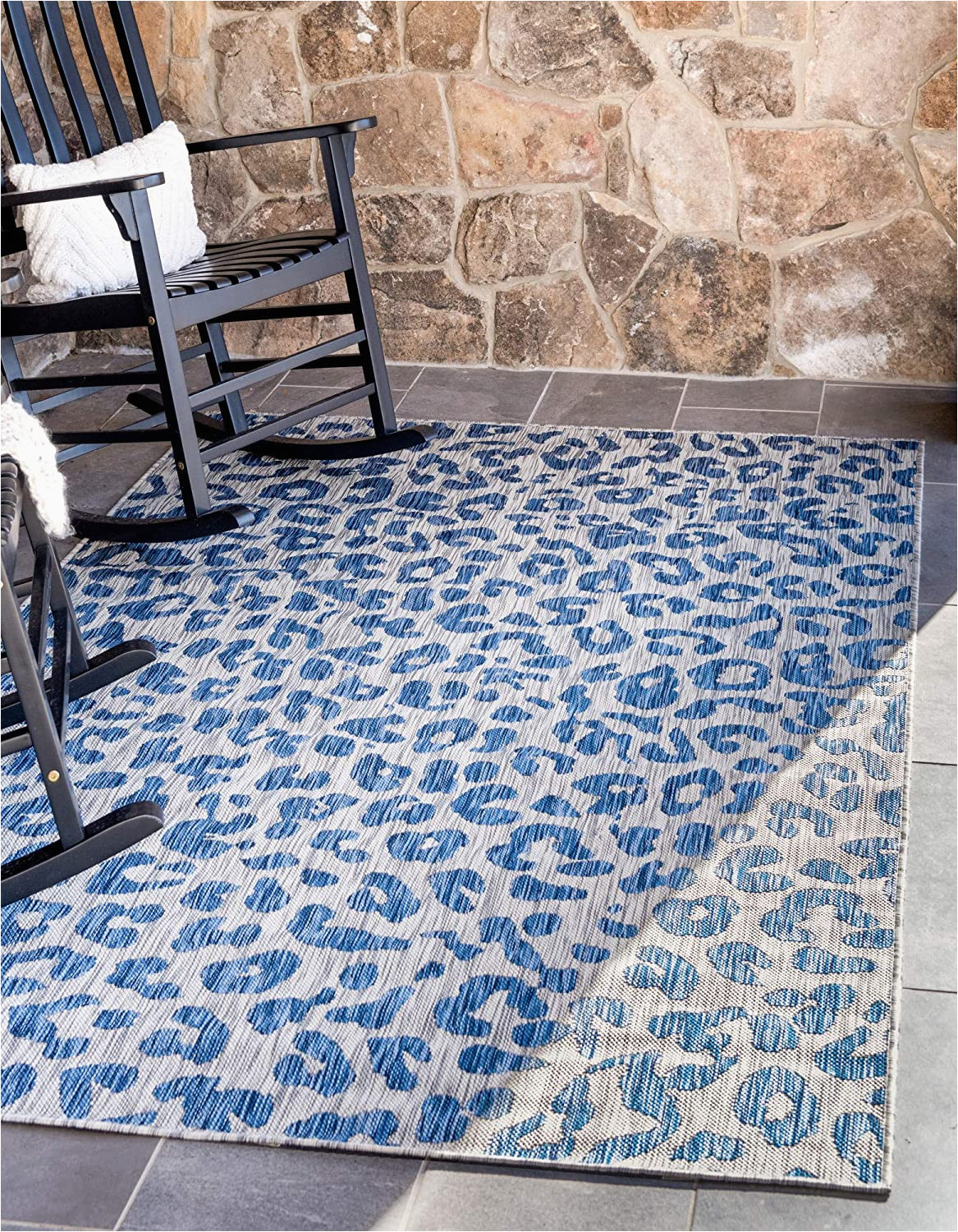 Blue Cheetah Print Rug Unique Loom Outdoor Safari Collection Leopard Animal Print Transitional Indoor and Outdoor Flatweave Blue area Rug 8 0 X 11 4