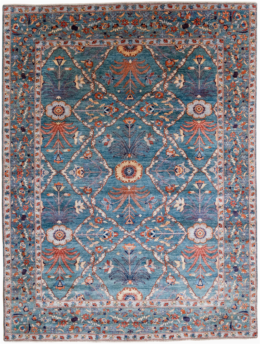 42420 contemporary very fine mughal blue green wool rug 810x119 afghanistan 1